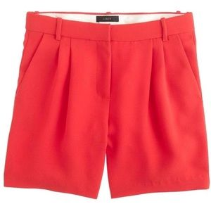 J. Crew Shorts - J.Crew Red Pleated Crepe Shorts